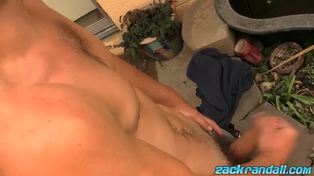Nerdy Twink Zack Randall with Glasses Stroking it Outdoor