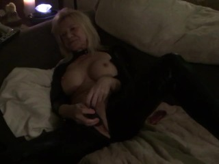 Playing with my pussy while watching lesbian porn.