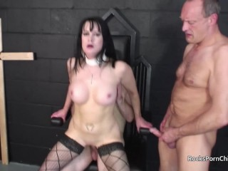 Tanya Cox gets gangbanged in Church with cum on pussy and facials