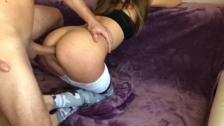 Stepdaughter anally fucked hard in her tight ass in yoga pants by her stepf