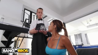 BANGBROS - Young Ebony Pornstar Makes Her Butler's Day By Fucking Him