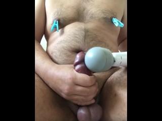 Nipple clipping vibelator jack-off