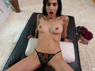 Petite Girl Takes On HUUUUGE BBC And Lets Him Creampie Her