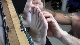Feet play, massage and tickleing with Collins and Franco Hardcore fucking