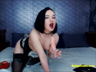 Seductive young petite maid stiptease and toying with strong orgasm