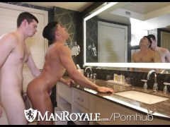 ManRoyale After work bath blowjob and fuck with Ethan Slade & Benn Heights