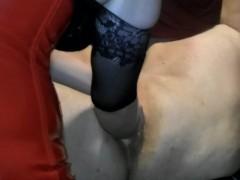 Anal Fisting Male Slave on Back Femdom
