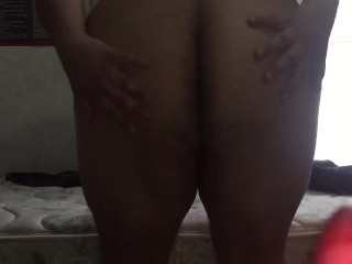 Chubby Latino shows off ass