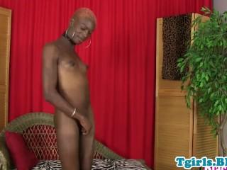 Black lingerie tgirl with big nipples jerking