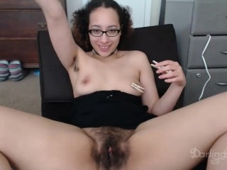Talking about my bush on cam while playing with two clothespins