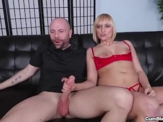 Blonde chick gets splattered with cum
