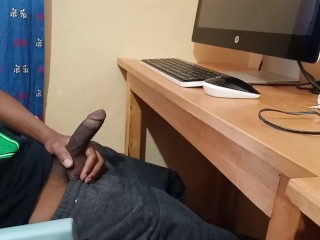 Jerking Off Under Table - Spy Camera Films Straight Brother Jerking Off To Porn