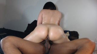 Riding my BFs big black cock, loves when he fucks my round ass!