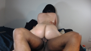 Riding my BF's big black cock, loves when he fucks my round ass! porno