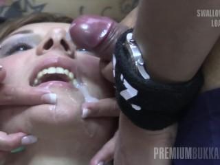 Premium Bukkake - Michelle slikt 83 enorme mondvol cumshots
