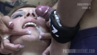 Premium Bukkake Michelle swallows 83 huge mouthful cumshots