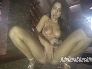 Adriana Chechik masturbates and squirts during a rainstorm in South Africa