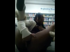 Sexy black girl masturbates and cums in library part 1