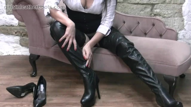 Sexy secretaries tits Sexy secretary babe slowly pulls on her leather thigh boots over her nylons