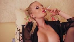 Cigarette smoking fetish lady