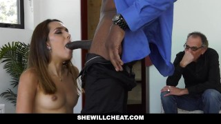 SheWillCheat Hot Young Wife Fucks BBC While Husband Watches