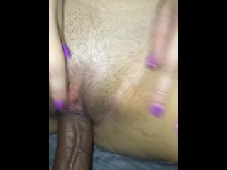 Creamy white pussy cums all over black cock