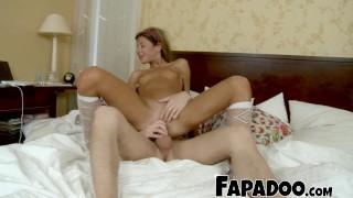 Screen Capture of Video Titled: Shy Skinny Schoolgirl Gets Distracted