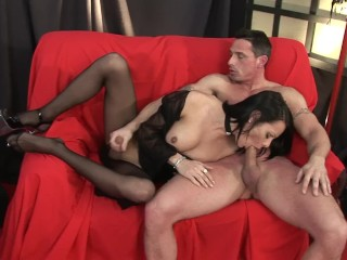 Guy fucks cock tranny and cums all over...
