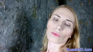 Russian trans amateur stroking her hard cock
