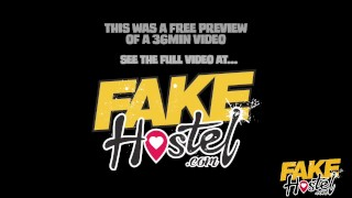 Fake Hostel - Freckle faced girl with nice ass and big nipples creeped on Femdom toys