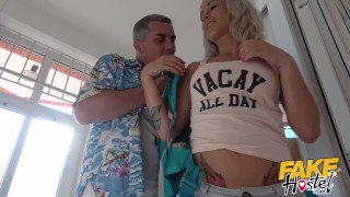 Fake Hostel - Freckle faced girl with nice ass and big nipples creeped on Pmv in