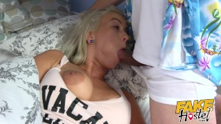 Fake Hostel - Freckle faced girl with nice ass and big nipples creeped on Cumming announcement