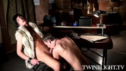 Vamp blowing dick of anther cute twink vamp in their office