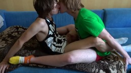 Two guys kiss and wank until cum
