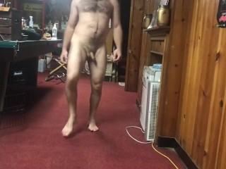 Bearded man working out naked