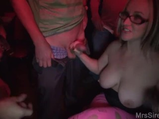 Hotwife Sucking a Room Full of Dicks