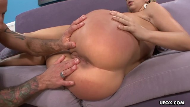 Tight ass blonde fucked on a purple sofa then cummed on her pussy 11