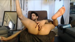 sexy stud working his hole so well on couch making hole so creamy