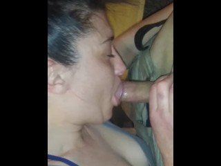 Daddy cums home from offshore to sloppy bj from wife