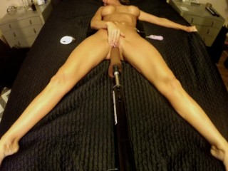 BRUNETTE WIFE FUCKS VIBRATING DILDO ON FUCK MACHINE ~ TOP VIEW