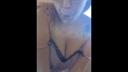 Cute Emo Girl Smokes Cig & More On Periscope Show Off Big Hard Nipples