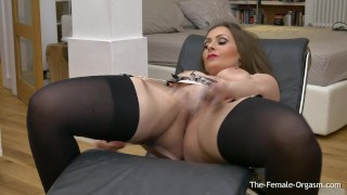 Femorg MILF with Big Naturals Solo Masturbation with Vibrator to Orgasm Breasts hand