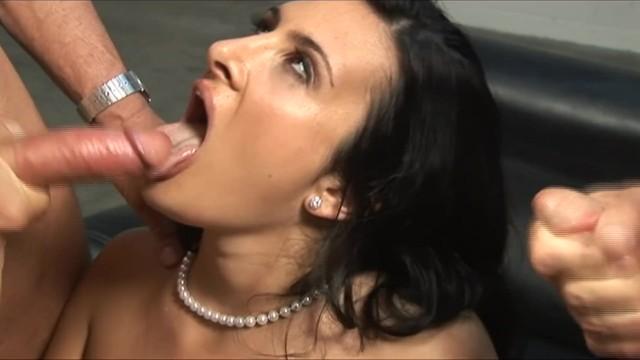 Horny Teen Give Two Huge Cocks Handjob & Gets Facial 15