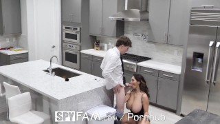 SpyFam Step mom Ava Addams fucks broken hearted step son on valentines day Mother pussy