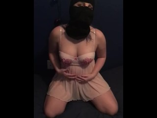 Masked strip tease and fingerbang
