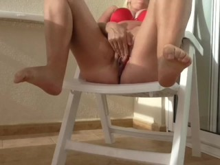 Public squirt on balcony :)