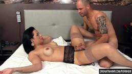 Beautiful Tgirl Bruna Castro Sucks and Fucks Two Delivery Men