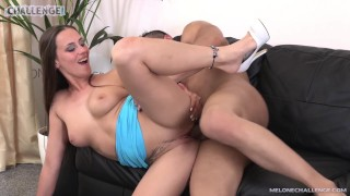 Huge black dick ride in wet Mea Melones pussy raw & cum in her mouth