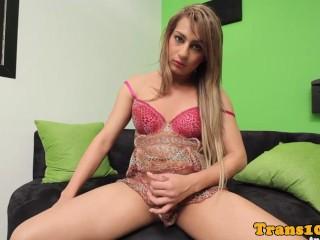 Lingerie tgirl tugging her spanish cock