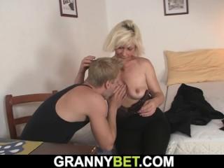 He doggy-fucks blonde old woman